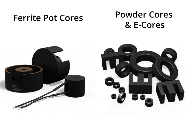 Ferrite Pot cores, E-cores, and powder cores use epoxy binding resin