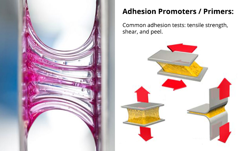 Adhesion Promoters and Primers help adhesives and coatings stick to substrates/> <caption>Adhesion Promoters and Primers help adhesives and coatings stick to substrates</caption> </div><div class=